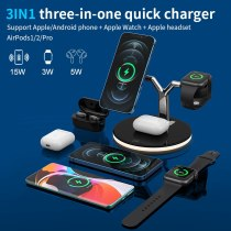 15W QI Fast Charging Mobile Phone Holder For IPhone 12 12 Pro Max Xiaomi 3 in 1 Magnetic Wireless Charger Mobile Phone Holder