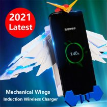 The new wireless charger car holder is suitable for iPhone 12 10W Qi fast charging folding stand mechanical wing charger