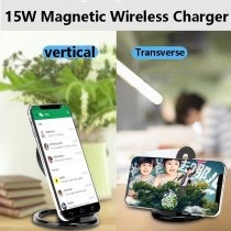 The new 15W magnetic charger desktop telescopic stand for iPhone 12 ProMax 12Mini portable wireless charging mobile phone stand