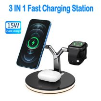 3 in 1 Magnetic Wireless Chargers 15W Fast Charging Station for Magsafe iPhone 12 pro Max Charger for Apple Airpods pro Watch