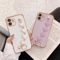 Luxury Plated Gold Electroplated Heart Bracelet Holder Cases for iPhone 12 Pro Max 11 8 Plus XS XR SE 2020 x Cover