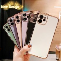 Luxury Gold Plated Silicone Electroplated Lens Protection Cover for iPhone 11 Pro Max SE 2020 8 Plus 7 XR XS X Cases