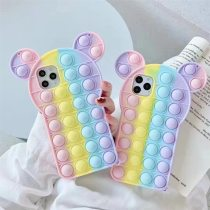 For iPhone Case 6 7 8 Plus X XS Max XR 11 12 Pro Max SE Pop Phone Cases Relive Stress Toy Push It Bubble Silicone Rainbow Cover