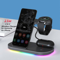 3 in 1 Wireless Charger Stand for Samsung Galaxy S21/Note 20/S20/S10/S9 Galaxy Watch LTE BT 3 S3 Active 2 1 Galaxy Buds Pro Live