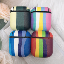 For AirPods 2 1 Case Earphone Cases PC Shell+ PU Leather Rainbow Pattern