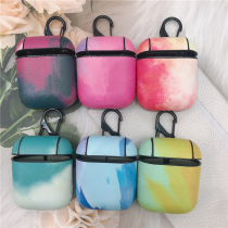 For AirPods 2 1 Case Earphone Cases PC Shell+ PU Leather Watercolor Pattern