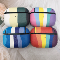 For AirPods Pro Case Earphone Cases PC Shell+ PU Leather Rainbow Pattern