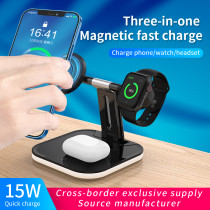 3 In 1 Magnetic 15W Wireless Charger For Magsafe IPhone 12 Pro Max Fast Wireless Charger Station For Apple Watch/AirPods Series