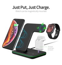 15W Qi Fast Charger 3 in 1 Wireless Charger Stand for Iphone 12 11 X XS  iWatch 1 2 3 4 Charging Dock Station for TWS earbuds