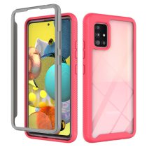 Anti fall 360 Color border Transparent 2 in 1 Phone Case For Samsung Galaxy A51 A71 4G 5G A21S A42 A12 A52 A32 A72 PC Back Cover