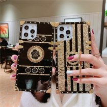 Luxury Square Bling Golden phantom Flower Ring buckle support Phone Case For iPhone 12 11 Pro X XR XS Max 7 8 Plus soft cover