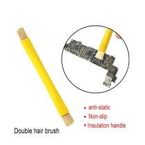 Kaisi Double Head Brush ESD Safe Brush Anti-Static Repair Electronics Tool Kit BGA PCB Repair Cleaning Brush for iPhone Repair