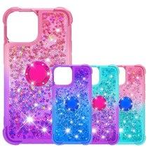 Quicksand Liquid Glitter Finger Ring Case for iPhone 13 12 11 Pro XS Max XR X 12Mini 7 8 Plus SE 2020 Phone Case Stand Cover