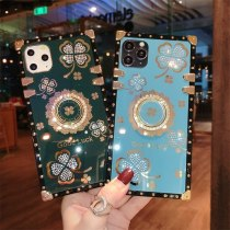 Luxury Glitter Diamond Ring Flowers Square Phone case For Samsung Note 20 Ultra Note10 S21 S20 Plus S10 S9 A71 soft Cover Fundas