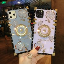 Luxury Lucky Flowers Ring Square phone Case For IPhone 12 11 Pro Max 6 S 7 8 Plus XR XS SE Diamond glitter Cover Bracket Fundas