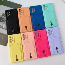 Card Bag Wallet Candy Color Case For Samsung A52 A72 A32 A51 A71 A22 A82 S21 Plus S20 FE Camera Protection Shockproof Soft Cover