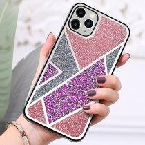 Geometric Diamond Glitter Case For iPhone 13 11 Pro Max 12 Mini X XS XR Case Rhombus Bling for iPhone 7 8 Plus 6 6s SE2 Marble Cover