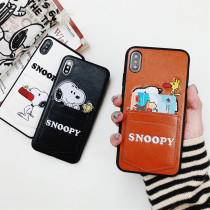 Snoopy iphoneX Case Creative Pocket Card Leather Acrylic
