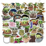 50Pcs The Mandalorian Star Wars Baby Yoda Sticker Scrapbooking Suitcase Decal Skateboarding Motorcycle Children Gift Stickers