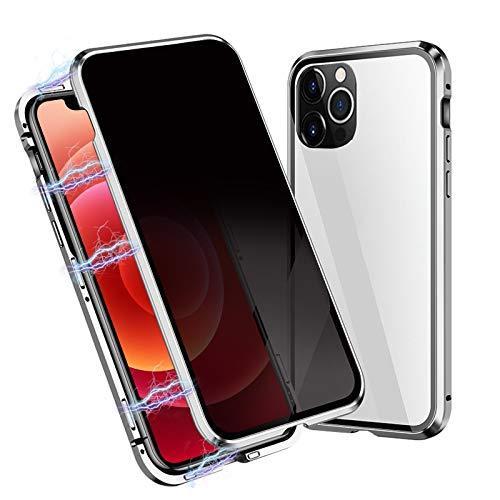 Anti Peep Magnetisch Hülle Kompatibel mit iPhone 12/12 Pro, Magnetische Adsorption Case Kompatibel mit iPhone 12/12 Pro, 360 Grad Gehärtetes Glas Blickschutzfolie Metallrahmen Cover 6.1''(Silber)
