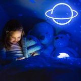 Neon Light LED Planet Neon Signs, Planet Shaped Neon Sign Wall Decor USB/Battery Night Light for Bedroom Wedding Party Bar Pub Hotel Kids Boys Girls Room Neon Wall Signs Decoration (Blue and white)