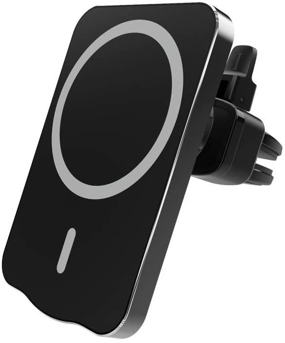 Suitable for iPhone 12 Pro Max Mini Magnetic Metal Adsorption Frame, Suitable for Magsafe 15W Wireless Charger Fast Charging Airvent Fixed Phone Holder