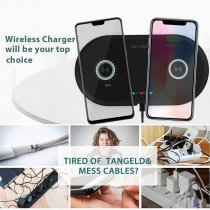 Dual wireless mobile phone charger for Samsung, Apple fast charging