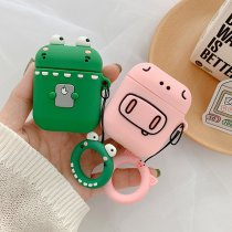 Frog Pig Pattern AirPods Case Finger Ring Strap Wireless bluetooth Earphone Cases Fundas