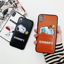 Snoopy iphoneX Case Creative Pocket Card Leather Acrylic