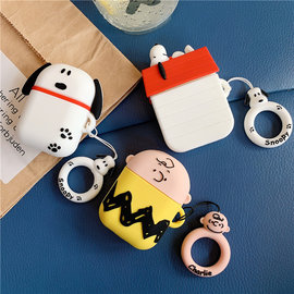 Snoopy Charlie AirPods Case Bluetooth Wireless Finger Ring Earphone Charger Box Cover