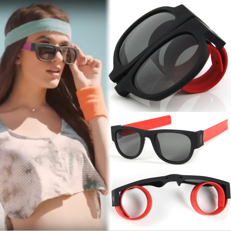 Unisex Fashion Slap Sunglasses Slappable Bracelet Sun Glasses Wristband Fold Mirror UV400