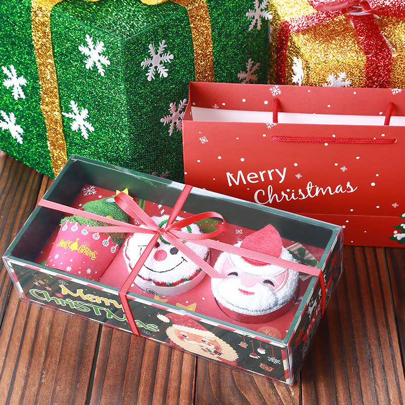 3 in 1 Cute Christmas Gifts Set Santa Claus, Snowman, Christmas Tree Shape Cotton Cake Towel Box Packaging