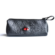 CZYY Pencil Case Black Faux Leather with 3D Dragon Eye and Name Tag Large Zipper Pen Pouch for School, Office & Art