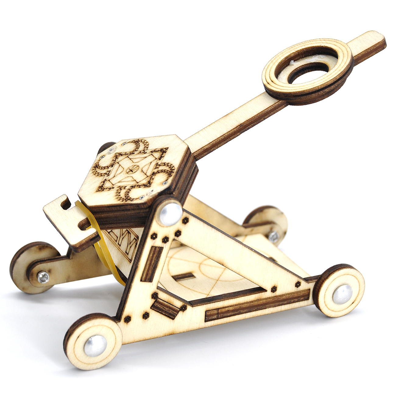 DIY Wood Catapult Kit Powered by Rubber Band Office Stress Relief Gadgets Great Desk Fidget Toy for Adults & Kids