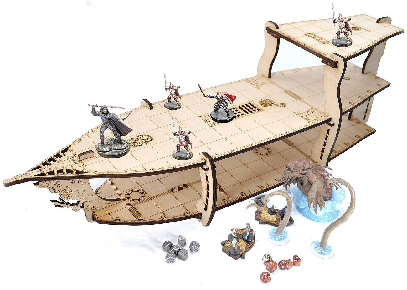 D&D Miniatures Action Figure Wood Display Stand - Large 3-Level Brigantine Ship Bundle for Tabletop RPG