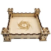 DIY Wood Square Dice Holder Cool 3D Castle Design Carved Dragon Eye - Easy Rolling Dice Tray for DND, RPG and Board Game