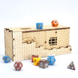 Castle Dice Tower with Tray Wood Laser Cut Dragon Carving Easy Roller Perfect for Board Game, D&D and RPG