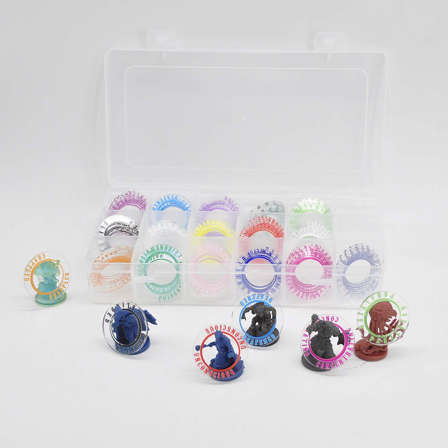D&D Acrylic Condition Rings 64 PCS Status Effect Markers in 16 Conditions & Colors with 4x4 Storage Box Great DM Tool for Dungeons & Dragons, Pathfinder and RPG Miniatures