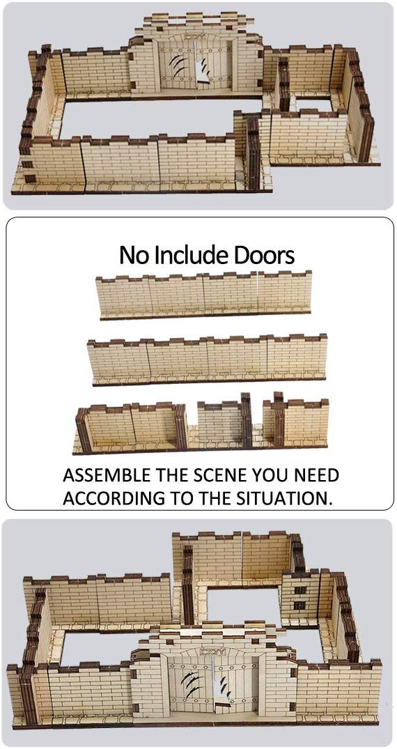 D&D Dungeon Brick Walls (Set of 12) Wood Laser Cut 2  x 1  3D Modular Terrain Tiles 28mm Scale Perfect for Dungeons & Dragons, Warhammer and Other Tabletop RPG