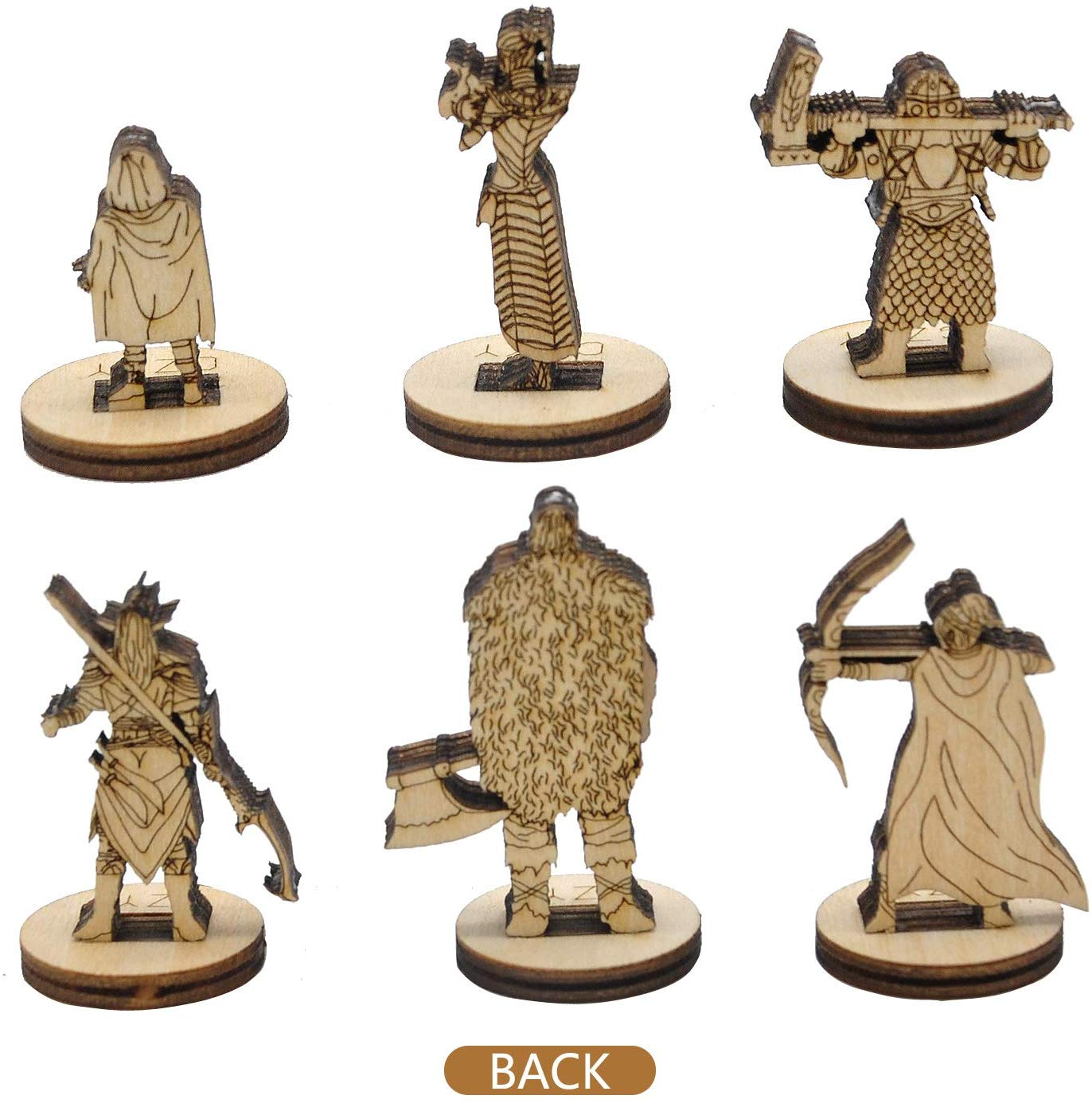 D&D Fantasy Miniatures 2.5D Wood Laser Cut Figures 28mm Scale 6PCS Starter Set Perfect for Dungeons and Dragons, Pathfinder and Other Tabletop RPG