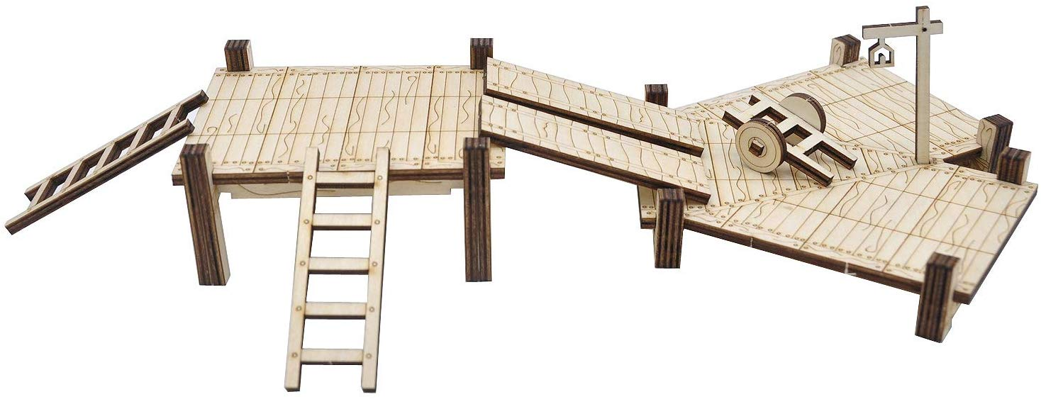 CZYY D&D Modular Bridge, Dock, Walkway Expansion Set 7PCS Wood Laser Cut Dungeon Terrain for Pathfinder, Dungeons & Dragons and Other Tabletop RPG