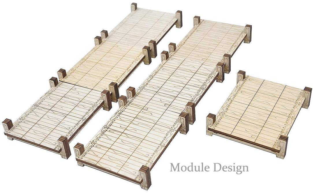 CZYY D&D Modular Bridge, Dock, Walkway Set 6PCS Wood Laser Cut Dungeon Terrain for Pathfinder, Dungeons & Dragons and Other Tabletop RPG