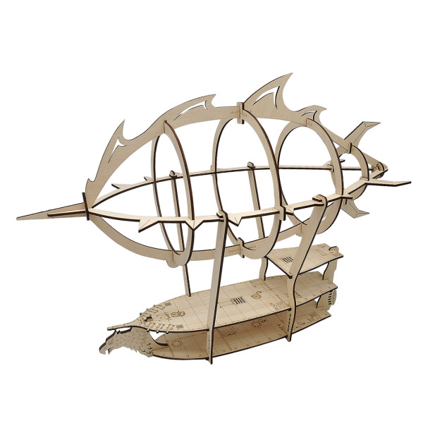 3D Airship Model Wood Laser Cut Hot Air Balloon with 1  Grids Fantasy Aerial Combat Terrain Map for D&D, Pathfinder, Warhammer and Other Tabletop RPG