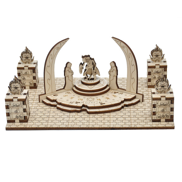 D&D Demonic Altar with 4 Skull Pillars & 1 Guard Miniature Wood Laser Cut 28mm Scale Modular Wargaming Terrain for Pathfinder, Dungeons & Dragons, Warhammer Other Tabletop RPG