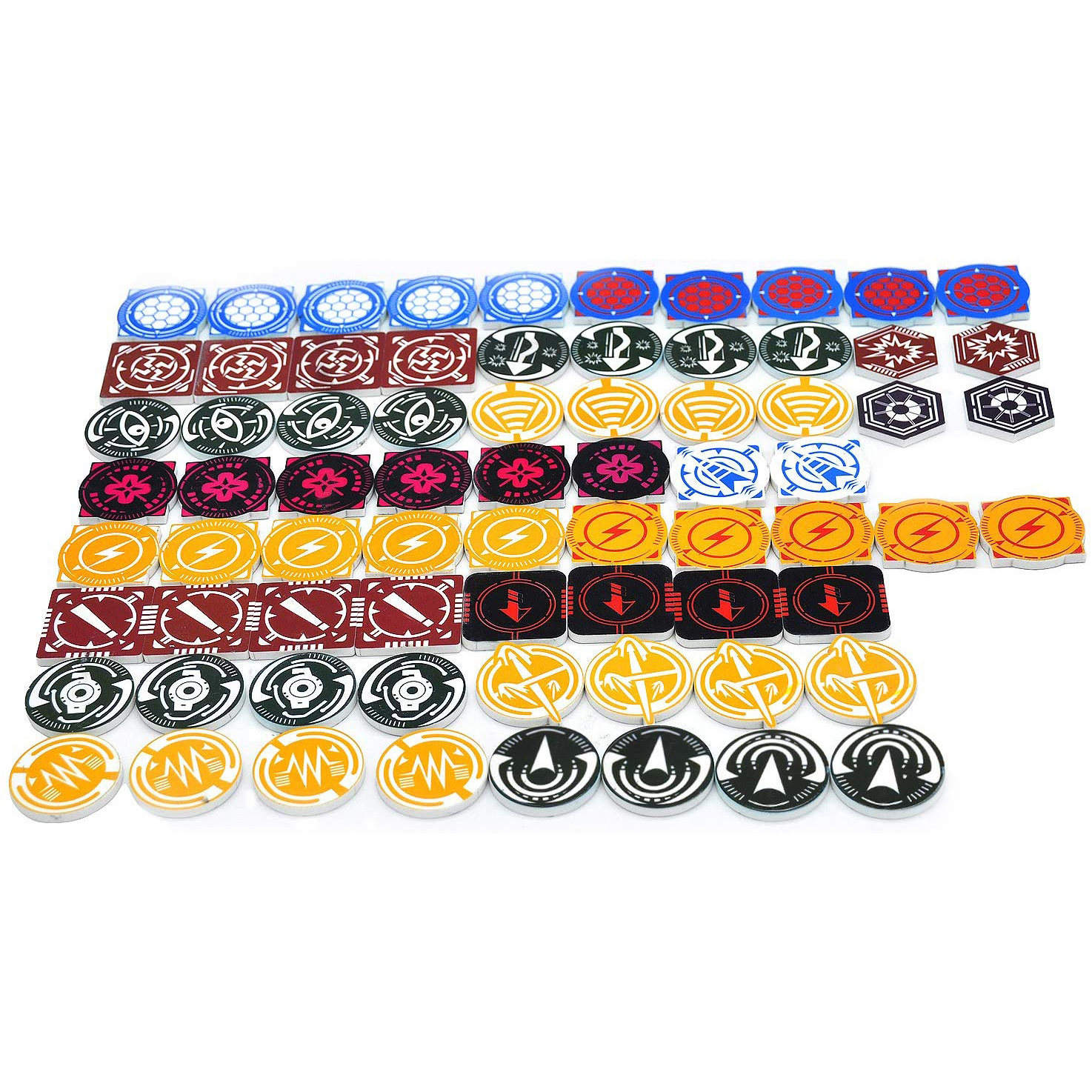 X Wing Acrylic Tokens & Markers Set of 72 - Combatible with X-Wing Miniatures Game Essentials for Space Fight Players