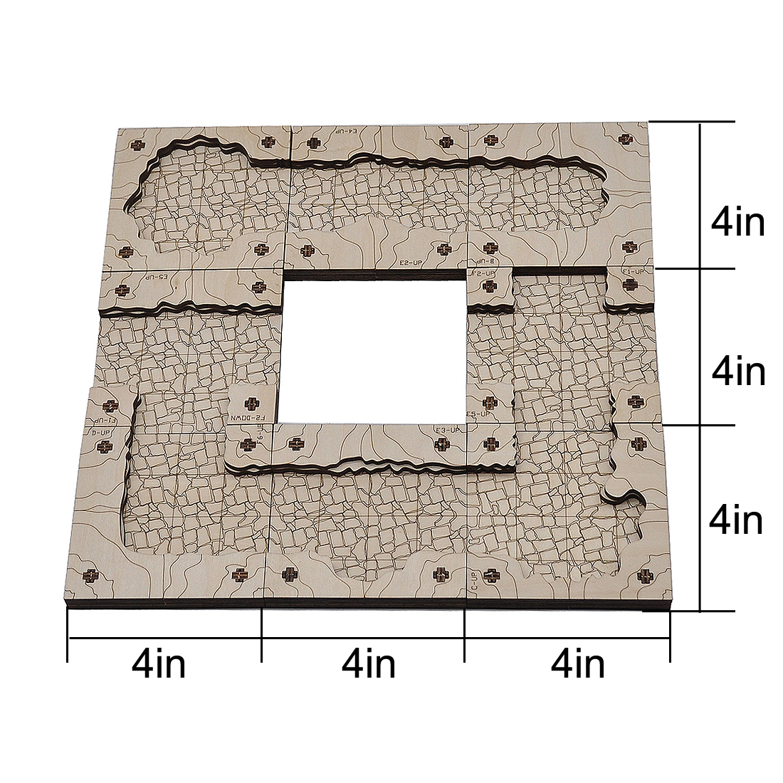 Dungeon Cavern Tiles Set Wood Laser-Cut Modular Terrain Customizable Tunnels Battle Map for Pathfinder, D&D and Other Tabletop RPGs (Cavern Tiles)