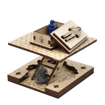 D&D Wooden Sarcophagus Miniature with Removable Lid & Ladder - Entrance for Dungeon Cavern Tiles System - Fantasy Coffin Terrain for Pathfinder, Warhammer and Other Tabletop RPG