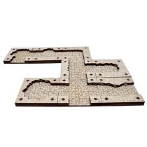 Dungeon Cavern Tiles Set Wood Laser-Cut Modular Terrain Customizable Tunnels Battle Map for Pathfinder, D&D and Other Tabletop RPGs (Cavern Tiles)