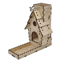 CZYY Bird Feeder Dice Tower with Tray Wood Laser Cut Perfect for Wingspan and Other Tabletop Games