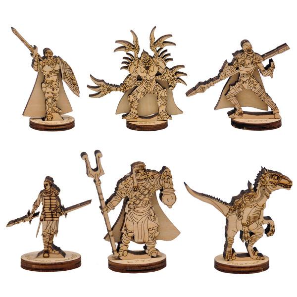 D&D Fantasy Miniatures Wood Laser Cut Figures 6PCS Set 28mm Scale for Eberron Campaign